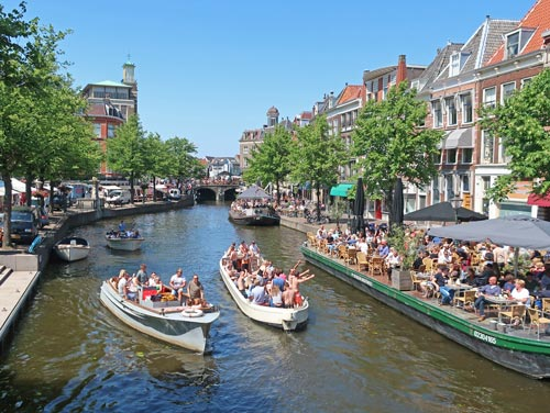 Canal Boat Tours In Leiden Holland